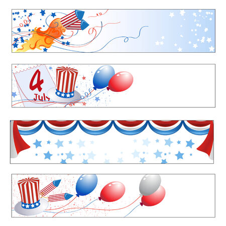 Vector illustration of Colorful  Independence Day banners