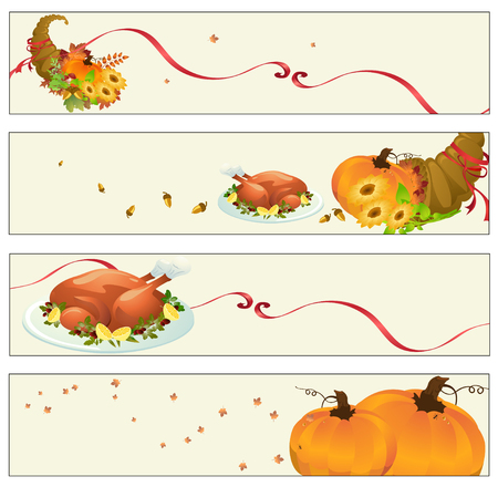 Vector illustration of thanksgiving banners Vector