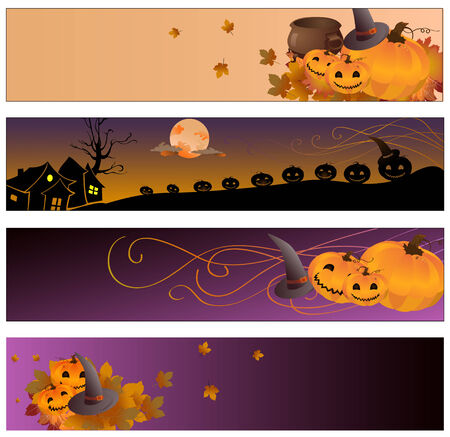 Vector illustration of halloween banners Vector