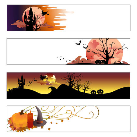 Vector illustration of halloween banners set Illustration