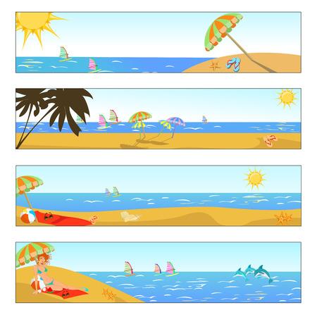 Vector illustration of summer holidays banner set Stock Vector - 4724844