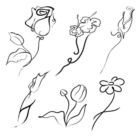 candid: Vector illustration of flowers Design Set made with simple line only Illustration