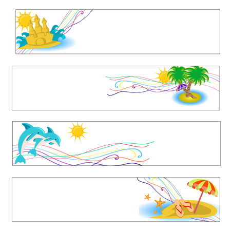 Vector illustration of summer beach banners set Vector