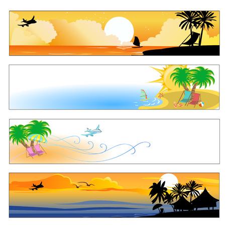 nue plage: Vector illustration de l'�t�, la plage banni�res ensemble Illustration