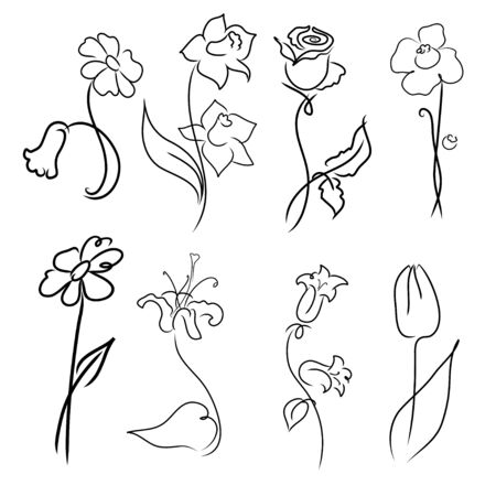Vector illustration of flowers Design Set made with simple line only Vector