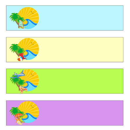 Vector illustration of summer holidays banner set Vector