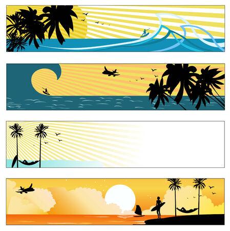 paisaje vintage: Ilustraci�n vectorial de verano playa pancartas conjunto Vectores