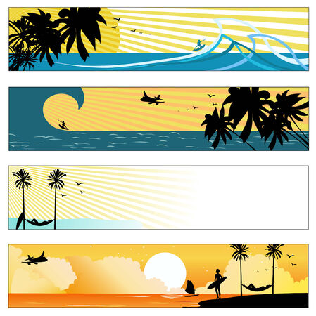 Vector illustration of summer beach banners set Stock Vector - 4724802