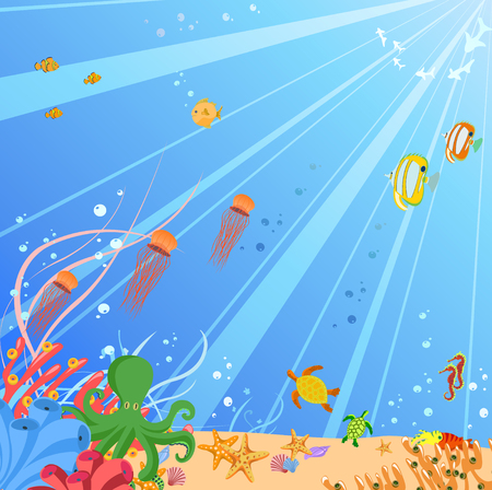 Vector illustration of Colorful background with creatures of the seas. Friendly kids style. Vector