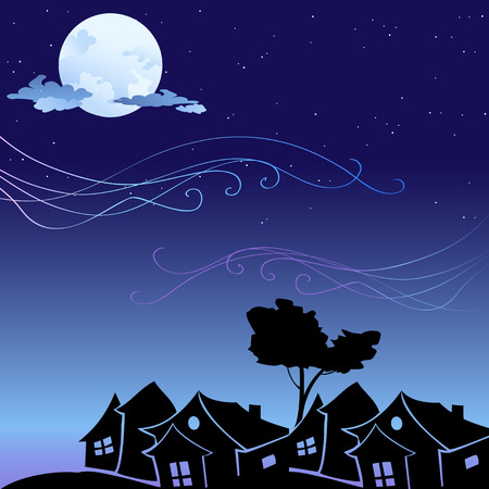 Vector illustration of romantic background with cartoon  skyline silhouettes