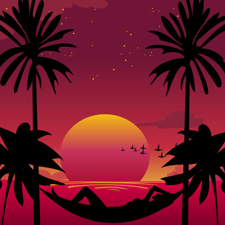 Vector illustration of a girl lying down in a hammock in a paradise island.  Vector