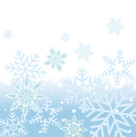 Vector illustration of blue Abstract Winter background with many different falling stylish snowflakes Stock Vector - 4724842