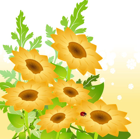 Vector illustration of bright yellow sunflowers on Abstract floral background Stock Vector - 4724860