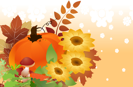 Vector illustration of bright thanksgiving day autumn background Vector