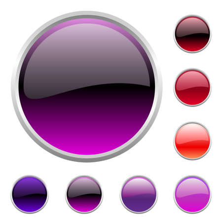 Vector illustration of modern shiny round buttons set Vector