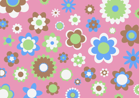 spring bed: Vector illustration of multicolored funky flowers abstract pattern on pink background