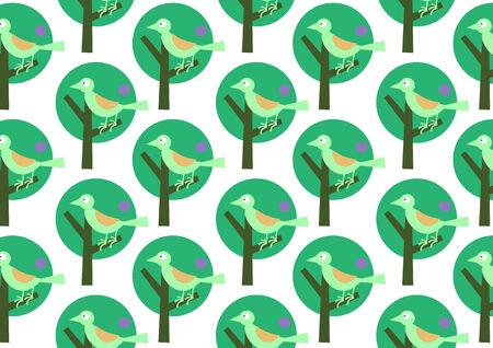 Vector illustraition of bird on the stylized tree. Retro wallpaper pattern. Vector