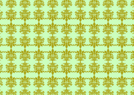 illustraition: Vector illustraition of green retro abstract floral Pattern background Illustration