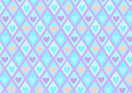 Vector illustration of retro rhombs with blue hearts pattern on the violet background  Vector