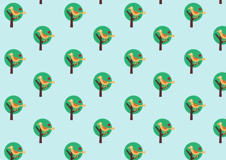 Vector illustraition of bird on the stylized tree. Retro wallpaper pattern.