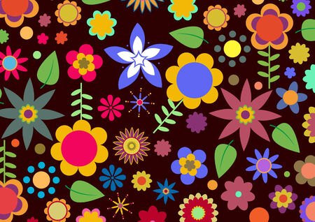 Vector illustration of multicolored funky flowers abstract pattern on black background Vector