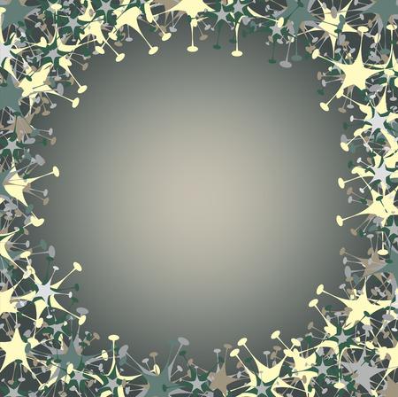 Vector illustration of  frame made  of funky  stars  shape.