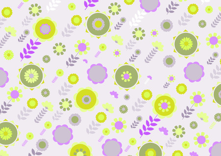 Vector illustration of green and yellow funky flowers and leaves retro pattern on violet background Vector