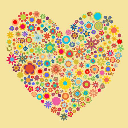 Ilustración vectorial de corazón patrón compuesto de figuras de flores. Bueno para las tarjetas de San Valentín.