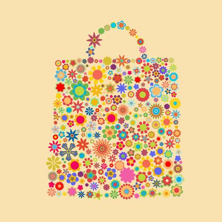 bolsa de regalo: Ilustraci�n vectorial de la bolsa de patr�n compuesto de figuras de flores