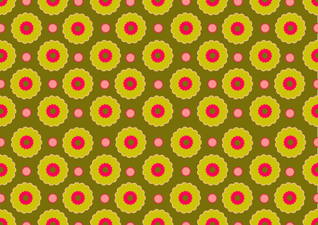 Vector illustration of  funky flowers abstract pattern  Vector