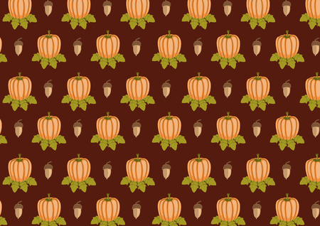 Vector illustration of retro pattern made of acorn and pumpkin  shapes Vector