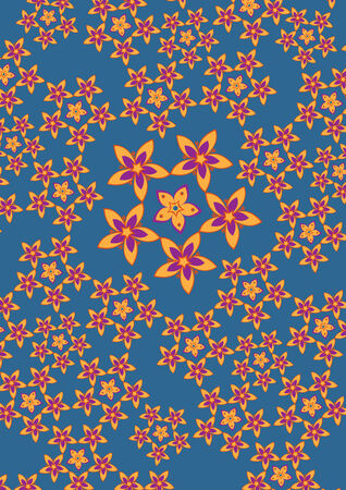 Vector illustration fo funky flowers abstract pattern on the blue background Vector
