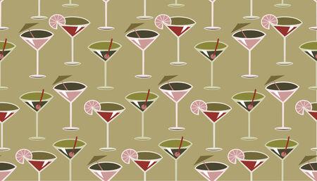 likeur: Vector illustratie van funky retro stijl cocktail patroon