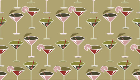Vector illustration of funky retro styled cocktail pattern