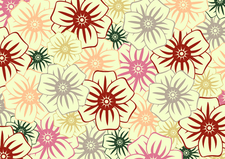 Vector illustration of funky  flowers in retro style.  Floral pattern. Vector