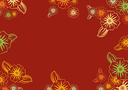Vector illustration of funky  flowers in retro style on the red background.  Floral frame.  Vector