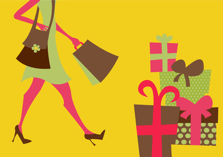 Vector illustration of shopping girl. Includes shopping bags and present boxes Vector