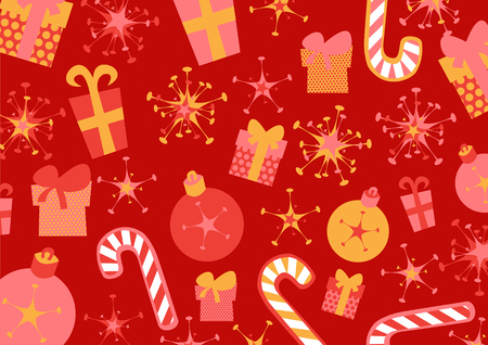 Vector illustration of christmas background. Includes present boxes, candies, flakes and christmas balls Stock Vector - 4886994