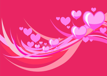 flirty: Vector illustration of Flirty background  of stylized hearts and waves