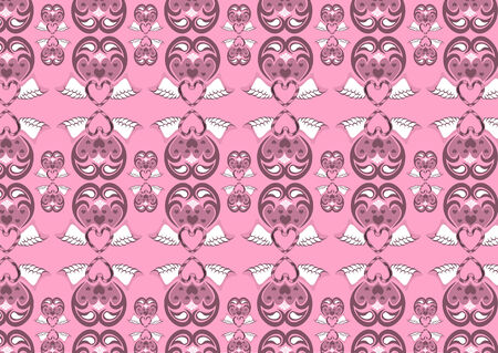 Vector illustration of retro abstract heart pattern on the pink background Vector