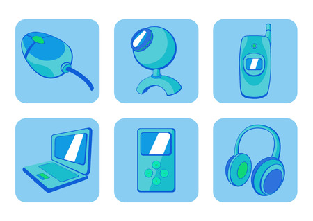 Vector illustration of  blue  glossy technological gadgets icons Stock Vector - 4886984
