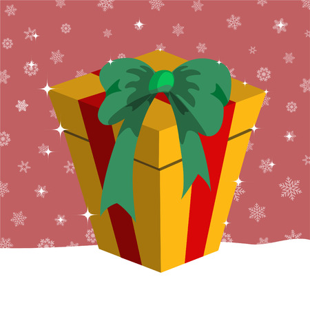 Vector illustration of Christmas presents box on the pink background with the white snowflakes Stock Vector - 4886993