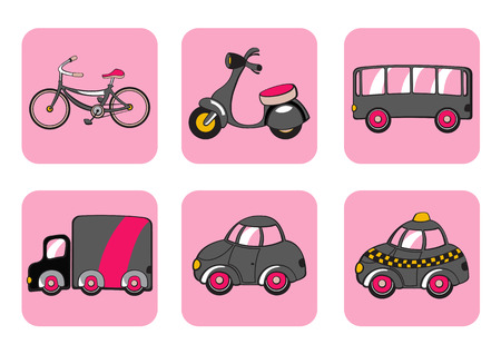 Vector Illustration of transportation icons. Includes bicycle, minibike, bus, track, car and taxi on the pink background. Vector