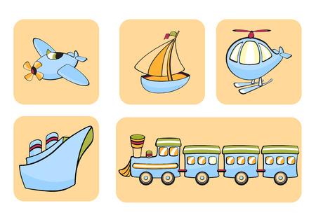 speed boat: Ilustraciones Vectoriales de iconos de transporte. Incluye avi�n, bote, helic�ptero, barco y tren en el fondo beige.
