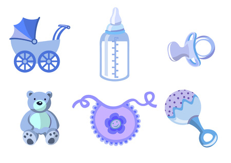 Vektor-Illustration der Baby-Symbole. Beförderung, Flasche, Teddybär, Lätzchen, Schnuller und Rassel enthält.  Vektorgrafik