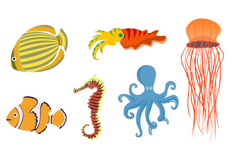 exoticism: Vector illustration of funny sea animals  icons . Our aquatic friends that you can meet on the while diving.  Illustration