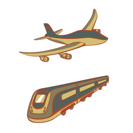Vector illustration of Modes of transport. Cute transportation icons Vector
