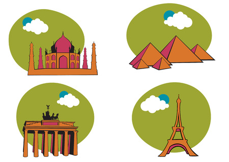 Vector illustration of All Over the World Travel. Includes the icons of Acropolis, The peramid of Kheops, Tag Mahal and Eiffel tower. Vector