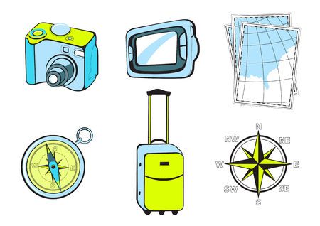 turistic: Vector illustration of turistic icons. Includes icons of photo camera, GPS, maps, compass, suitcase and wind rose. Illustration