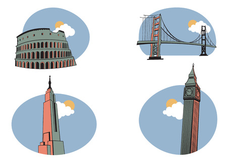 english famous: Vector illustration of All Over the World Travel. Includes the icons of Coliseum, Golden Gate, Big Ben and Empire State Building . Illustration